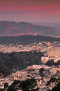 View of the Golden Gate Brige from Twin Peaks, San Francisco, California