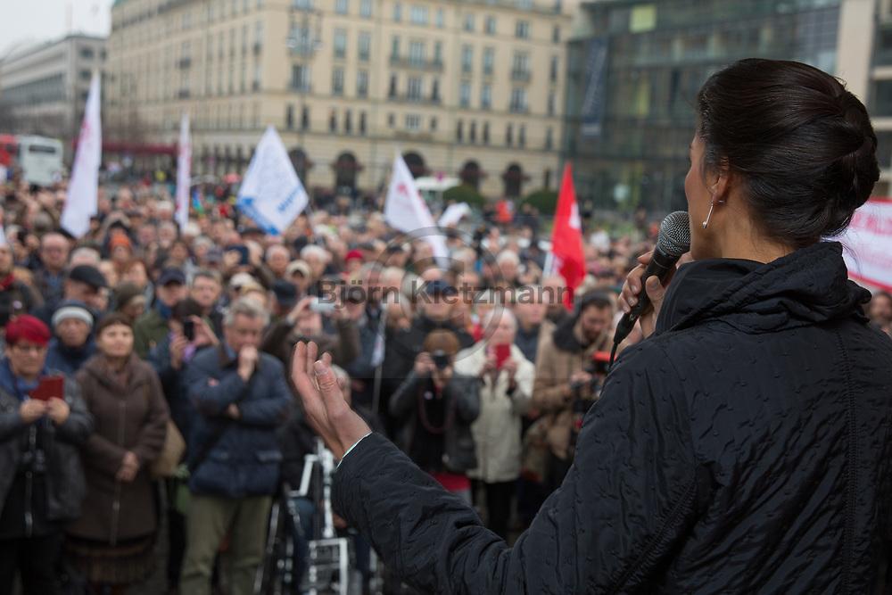 """Berlin, Germany - 09.11.2018<br /> <br /> Sahra Wagenknecht,. Demonstration of the initiative """"Aufstehen"""" with the Left Party politician Sahra Wagenknecht on the Pariser Platz in Berlin.<br /> <br /> Sahra Wagenknecht. Kundgebung der Initiative """"Aufstehen"""" u.a. mit der Linkspartei-Poltikerin Sahra Wagenknecht auf dem Pariser Platz in Berlin.<br /> <br /> Photo: Bjoern Kietzmann"""