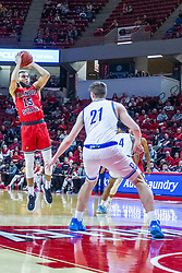 NORMAL, IL - February 22: Lijah Donnelly shoots a jumper from the free throw line leaving Liam Robbins unable to defend the shot during a college basketball game between the ISU Redbirds and the Drake Bulldogs on February 22 2020 at Redbird Arena in Normal, IL. (Photo by Alan Look)