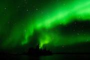 Northern lights or aurora borealis at Otter Falls<br /> Whiteshell Provincial Park<br /> Manitoba<br /> Canada