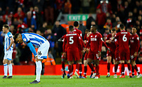 Huddersfield Town's Karlan Ahearne-Grant reacts to going 3-0 down<br /> <br /> Photographer Alex Dodd/CameraSport<br /> <br /> The Premier League - Liverpool v Huddersfield Town - Friday 26th April 2019 - Anfield - Liverpool<br /> <br /> World Copyright © 2019 CameraSport. All rights reserved. 43 Linden Ave. Countesthorpe. Leicester. England. LE8 5PG - Tel: +44 (0) 116 277 4147 - admin@camerasport.com - www.camerasport.com