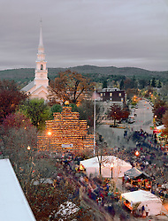 Central Square and pumpkin tower, Keene Pumpkin Festival