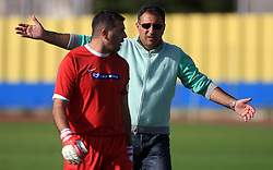 Goalkeeper of Koper Ermin Hasic and Head coach of Koper Vlado Badzim at 12th Round of PrvaLiga Telekom Slovenije between NK Luka Koper vs NK Interblock, on October 4, 2008, in SRC Bonifika in Koper, Slovenia. Interblock won the match 4:1. (Photo by Vid Ponikvar / Sportal Images)