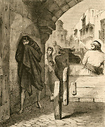 ''Room for the Leper! Room!''  Because of the fear of contracting Leprosy by contact with a sufferer, lepers were considered 'unclean' and isolated in Leper Hospitals. Engraving c1870.'