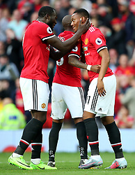 Anthony Martial of Manchester United celebrates with Romelu Lukaku after scoring the fourth goal - Mandatory by-line: Matt McNulty/JMP - 17/09/2017 - FOOTBALL - Old Trafford - Manchester, England - Manchester United v Everton - Premier League