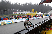 Belgium, Sunday 13th December 2015: Nikki Harris chases Helen Wyman on the final ascent of the Raidillon corner of the Spa Francorchamps motor racing circuit. Wyman won the Hansgrohe Superprestige cyclocross race by 8 seconds from Harris.<br /> Copyright 2015 Peter Horrell