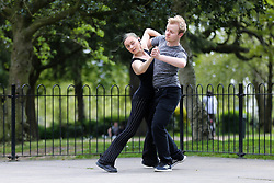 © Licensed to London News Pictures. 12/04/2020. London, UK. A couple dancing the tango in Finsbury Park, north London during coronavirus lockdown. Over 10,000 people in the UK have died in hospitals due to COVID-19. Photo credit: Dinendra Haria/LNP