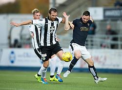 St Mirren's Andy Webster and Falkirk's Bob McHugh. <br /> Falkirk 3 v 0 St Mirren. Scottish Championship game played 21/10/2015 at The Falkirk Stadium.