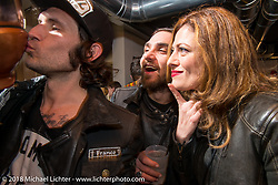 Ela Dutch at the Mr. Martini Friday night party celebrating the opening of his bar / restaurant at the workshop during the Motor Bike Expo. Verona, Italy. January 22, 2016.  Photography ©2016 Michael Lichter.