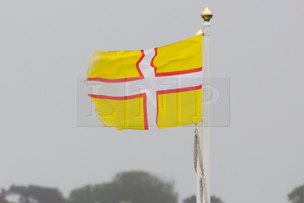 © London News Pictures. 02/06/2015. United Kingdom, Swanage. Grey skies cover the sky over a windy seafront at Swanage, Dorset, on June 2, 2015. Photo credit: LNP