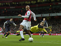 Photo: Olly Greenwood.<br />Arsenal v Bolton Wanderers. The FA Cup. 28/01/2007. Arsenal's Thierry Henry tries to back heel the ball past Bolton's Jussi Jaaskelainen but is cleared off the line