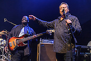"""WASHINGTON, DC - May 5th, 2014 - Seth Hurwitz, owner of the 9:30 Club (right) sings """"Happy Birthday"""" to Big Tony of Trouble Funk and part of Big Tony's birthday celebration at the 9:30 Club. The night featured a set from """"surprise guests"""" Dave Grohl and Foo Fighters. (Photo by Kyle Gustafson / For The Washington Post)"""