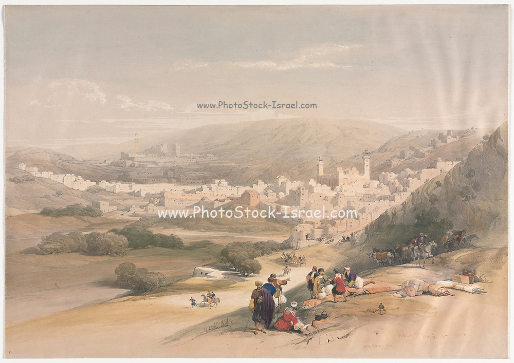 Hebron (al-Khalīl) 1839 Color lithograph by David Roberts (1796-1864). An engraving reprint by Louis Haghe was published in a the book 'The Holy Land, Syria, Idumea, Arabia, Egypt and Nubia. in 1855 by D. Appleton & Co., 346 & 348 Broadway in New York.