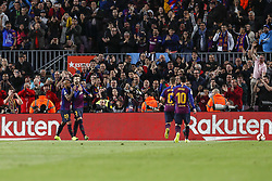 March 9, 2019 - Barcelona, Catalonia, Spain - FC Barcelona defender Gerard Pique (3) celebrates scoring the goal during the match FC Barcelona v Rayo Vallecano, for the round 27 of La Liga played at Camp Nou  on 9th March 2019 in Barcelona, Spain. (Credit Image: © Mikel Trigueros/NurPhoto via ZUMA Press)