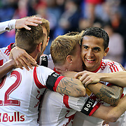Tim Cahill, (right), New York Red Bulls, celebrates a goal by Dax McCarty (centre), along with team mate Jonny Steele and Roy Miller, (left), during the New York Red Bulls V New England Revolution, Major League Soccer regular season match at Red Bull Arena, Harrison, New Jersey. USA. 20th April 2013. Photo Tim Clayton