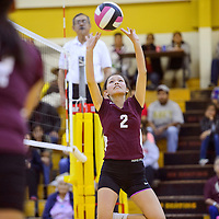 Tohatchi Cougar Kabah Bitsoi (2) sets up a shot on the Crownpoint Eagles Tuesday at Tohatchi High School.