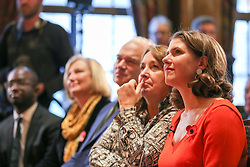 © Licensed to London News Pictures. 05/11/2019. London, UK. Liberal Democrat  MPs SAM GYIMAH (L), SARAH WOLLASTON (2nd from left), ED DAVEY (C) and Leader of the Liberal Democrats JO SWINSON (R) at the launch of Liberal Democrat general election campaign in Westminster. A general election will be held on 12 December 2019. Photo credit: Dinendra Haria/LNP