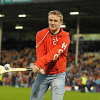 15 September 2012; Noel McGrath, Loughmore-Castleiney GAA, Co. Tipperary, competes in the Bord Gáis Energy Crossbar Challenge at half-time in the Bord Gáis Energy GAA Hurling Under 21 All-Ireland Championship Final between Clare and Kilkenny. Pat McEnaney, Corduff GAA, Co. Monaghan, Noel McGrath, Loughmore-Castleiney GAA, Co. Tipperary, and John Conlon, Clonlara GAA, Co. Clare, received a voucher between them from Bord Gáis Energy to the value of €1000 for kit for their club or chosen charity. Semple Stadium, Thurles, Co. Tipperary. Picture credit: Diarmuid Greene / SPORTSFILE *** NO REPRODUCTION FEE ***
