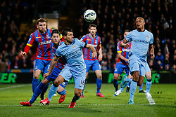 Sergio Aguero of Manchester City is challenged by Joel Ward and James McArthur of Crystal Palace - Photo mandatory by-line: Rogan Thomson/JMP - 07966 386802 - 06/04/2015 - SPORT - FOOTBALL - London, England - Selhurst Park - Crystal Palace v Manchester City - Barclays Premier League.