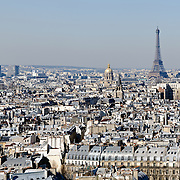 Aerial view of Paris skyline from the roof of the Cathedral of Notre Dame de Paris.