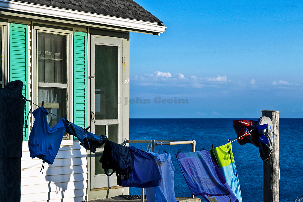 Waterfront beach cottage with clothes line, Truro, Cape Cod, Massachusetts, USA
