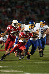 26 September 2009: Chris Garrett heads to the goal after intercepting a pass  in a game which the South Dakota State Jackrabitts jump past the Illinois State Redbirds 38 - 17 at Hancock Stadium on campus of Illinois State University in Normal Illinois