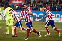 Atletico de Madrid´s Raul Garcia, Gabi and Mario Suarez during 2014-15 Spanish King Cup match between Atletico de Madrid and Barcelona at Vicente Calderon stadium in Madrid, Spain. January 28, 2015. (ALTERPHOTOS/Luis Fernandez)