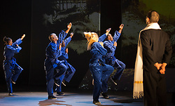 "© Licensed to London News Pictures. 18/10/2013. London, England. Barbican Artistic Associate ""Boy Blue Entertainment"" present the premiere of ""The Five & the Prophecy of Prana"". Choreographer Kenrick ""H2O"" Sandy and composer Michael ""Mikey J"" Asante are joined by award-winning Japanese Manga artist Akio Tanaka for a new narrative dance piece combining hip-hop, Manga and martial arts. Photo credit: Bettina Strenske/LNP"