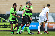 Forest Green Legends Marc McGregor scores a goal 2-2 and celebrates during the Trevor Horsley Memorial Match held at the New Lawn, Forest Green, United Kingdom on 19 May 2019.