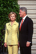US President Bill Clinton and first lady Hillary Clinton wait for the arrival of Czech President Vaclav Havel on the South Lawn of the White House September 16, 1998 in Washington, DC.