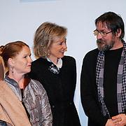 BEL/Brussel/20130319- Uitreiking Prinses Margriet Award 2013, aankomst, Prinses Astrid en laueraat Dan Perjovschi