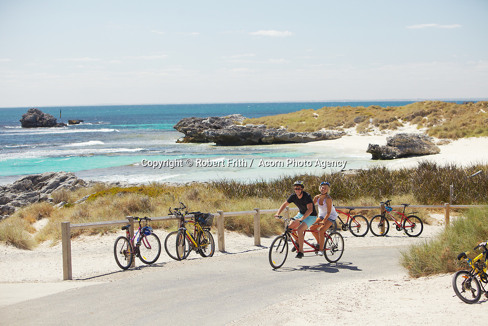Riding a tandem bike at The Basin