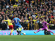 Matej Vydra scores a second goal for Watford during the Sky Bet Championship match between Brighton and Hove Albion and Watford at the American Express Community Stadium, Brighton and Hove, England on 25 April 2015.