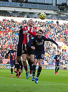 Oli McBurnie of Sheffield Utd and Adam Smith of Bournemouth in action during the Premier League match at Bramall Lane, Sheffield. Picture date: 9th February 2020. Picture credit should read: Chloe Hudson/Sportimage