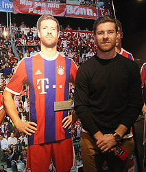 14.10.2014, Allianz Arena, München, GER, 1. FBL, FC Bayern Muenchen, Xabi Alonso, im Bild Xabi Alonso (FC Bayern München) neben einer Pappfigur // FC Bayern Munich player Xabi Alonso visits the FC Bayern Erlebniswelt Museum at the Allianz Arena in München, Germany on 2014/10/14. EXPA Pictures © 2014, PhotoCredit: EXPA/ Eibner-Pressefoto/ FCB/Getty Pool<br /> <br /> *****ATTENTION - OUT of GER*****