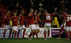 Matthew Mills of Nottingham Forest (C) celebrates scoring his sides third goal - Mandatory byline: Jack Phillips / JMP - 07966386802 - 5/12/2015 - FOOTBALL - The City Ground - Nottingham, Nottinghamshire - Nottingham Forest v Fulham - Sky Bet Championship