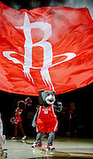 March 25, 2009; Houston, TX, USA;  Houston Rockets mascot Clutch entertains fans before the game against the Los Angeles Clippers at the Toyota Center.  The Clippers won 99-93. Mandatory Credit: Thomas Campbell-US PRESSWIRE