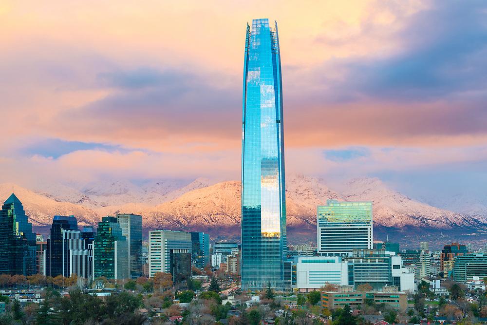 Skyline of Santiago de Chile with Los Andes Mountains in the back, Las Condes, Santiago de Chile