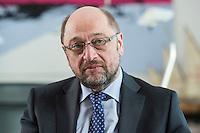 27 FEB 2017, BERLIN/GERMANY:<br /> Martin Schulz, SPD, desig. Parteivorsitzender und Kanzlerkandidat, waehrend einem Interview, in seinem Beuro, Willy-Brandt-Haus<br /> IMAGE: 20170227-01-012
