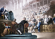 French Revolution. 'Louis XVI at the Bar of the National Convention, December 26th 1792'. President of Convention having asked if he has anything to say in his own defence, the King spoke briefly and with great dignity. Aquatint after picture by Domenico Pellegrini, London, 1796.