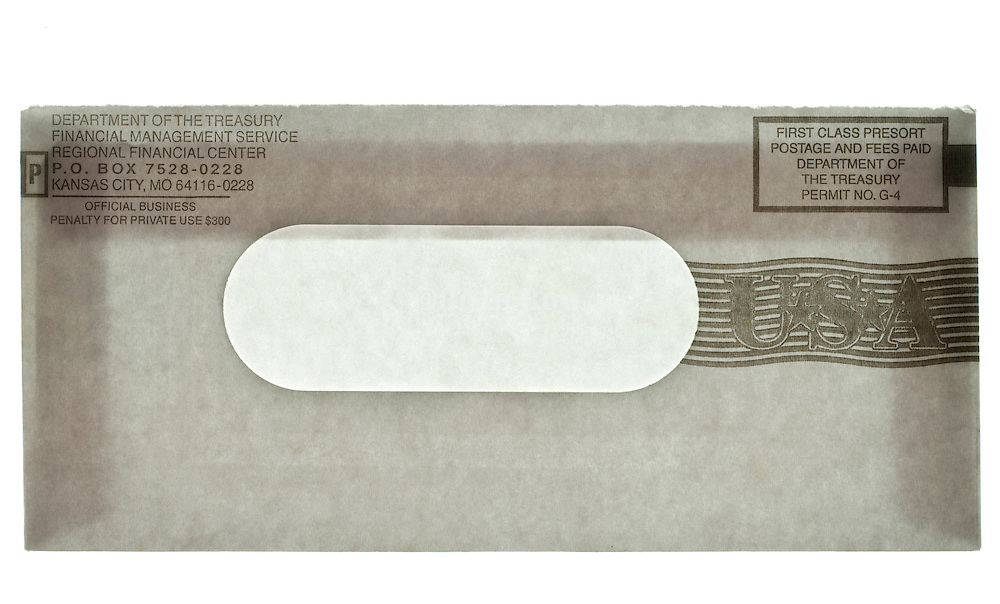 USA treasury special 2008 one time tax repate envelope