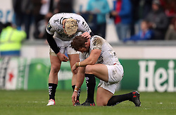 RC Toulon's Leigh Halfpenny (right) is consoled by team mate James O'Connor after missing a kick to win the game in the final moments during the European Champions Cup, pool three mach at Parc y Scarlets, Llanelli.
