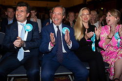 © Licensed to London News Pictures. 27/05/2019. London, UK. British Brexit party leader Nigel Farage  celebrates being re-elected as a European Parliament.   The Brexit Party is expected to do very well in the elections. Photo credit: Ray Tang/LNP