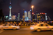 View of the Bund at night in Shanghai, China.