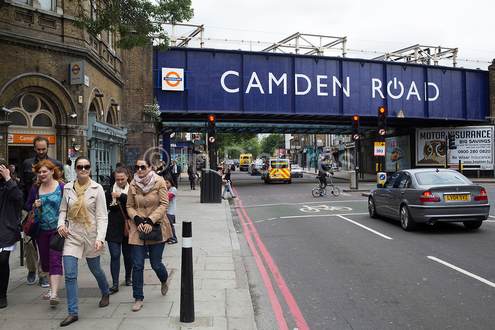 """Entrance to Camden Road Overground station in London, UK. Originally opened as """"Camden Town"""" by the North London Railway on 8 December 1870. It was renamed """"Camden Road"""" on 25 September 1950 to avoid confusion with the London Underground Northern line Camden Town which is 450 metres to the southwest."""