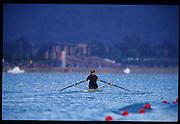Sydney, AUSTRALIA, USA W1X, Monica TRANEL - MICHINI. 2000 Olympic Regatta, West Lakes Penrith. NSW.  [Mandatory Credit. Peter Spurrier/Intersport Images] Sydney International Regatta Centre (SIRC) 2000 Olympic Rowing Regatta00085138.tif