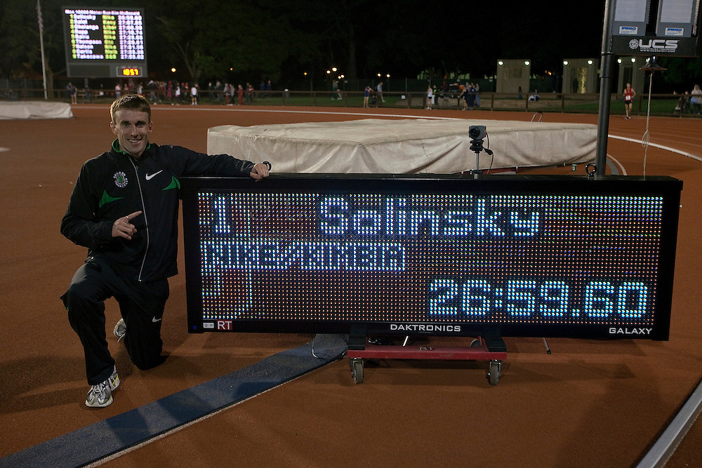 STANFORD, CA - MAY 1:  Chris Solinsky stands by his American record breaking time of 26:59:60 during the Payton Jordan Cardinal Invitational at Stanford University on May 1, 2010 in Palo Alto, California. (Photo by David Paul Morris/Getty Images for Nike)