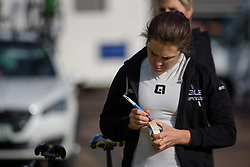 Chloe Hosking makes for notes for the race at Ronde van Drenthe 2017. A 152 km road race on March 11th 2017, starting and finishing in Hoogeveen, Netherlands. (Photo by Sean Robinson/Velofocus)