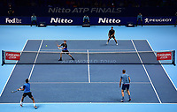 Tennis - 2018 Nitto ATP Finals at The O2 - Day One<br /> <br /> Group Doubles Group Llodra/Santoro: Jamie Murray (GB) & Bruno Soares (Bra) vs. Raven Klaasen (SA) & Michael Venus (NZ)<br /> <br /> Murray about to play a backhand.<br /> <br /> COLORSPORT/ASHLEY WESTERN