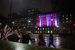 London, UK. 31 January, 2020. The Ministry of Defence building is illuminated in red, white and blue on the evening of Brexit Day shortly before the UK leaves the European Union.